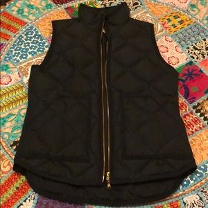 J. Crew Black Quilted Vest